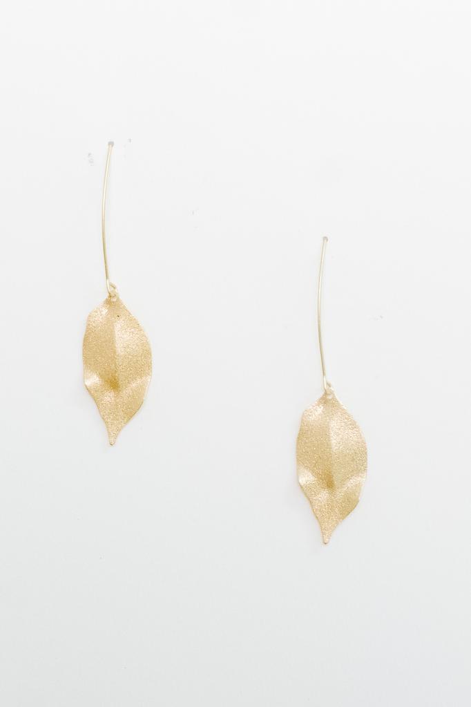 Accessories Shimmer Leaf Dangle Earrings