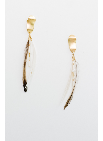 Accessories Two Tone Feather Earrings