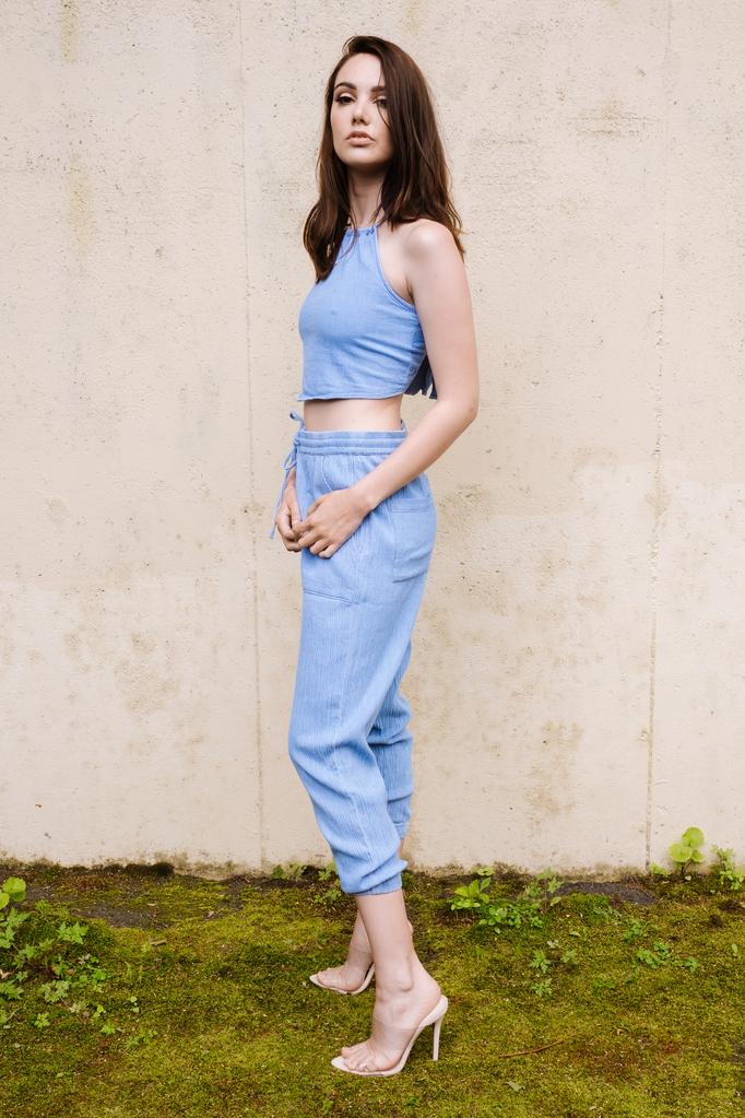 Pants Blue Drawstring Jogger