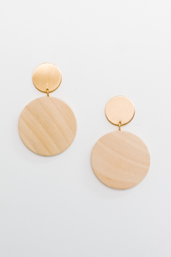 Accessories Wood Disc Earrings