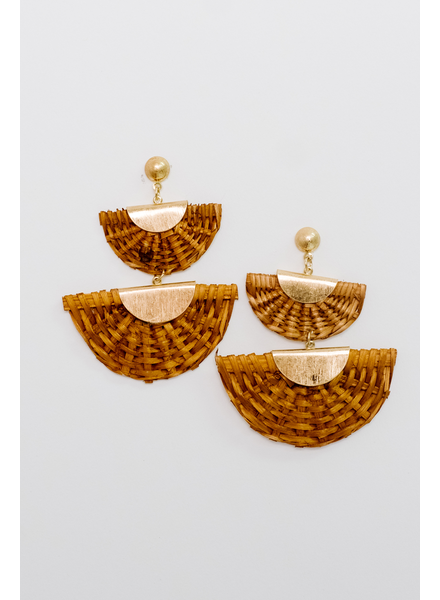 Accessories Wicker Fan Earrings