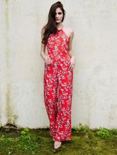 Jumpsuit Red Tropical Jumpsuit