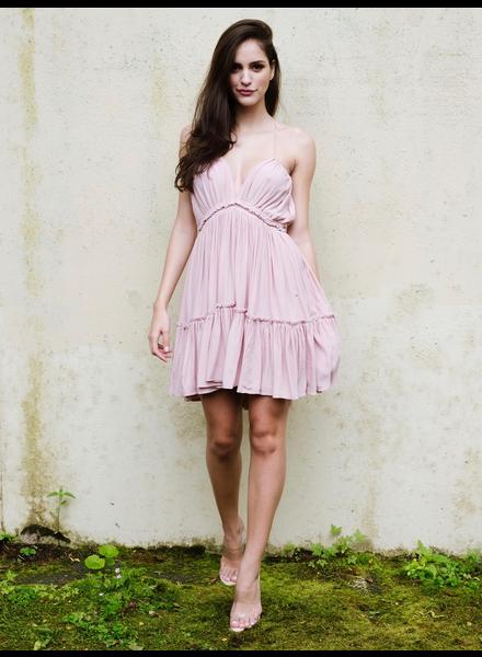 Mini Pink Frill Hem Dress