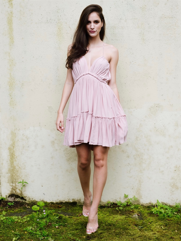 Pink Frill Hem Dress