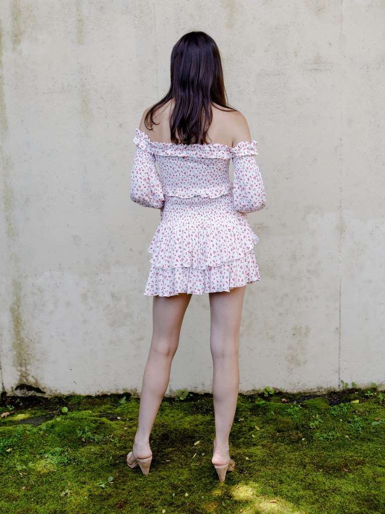 Skirt Floral Smock Waist Skirt