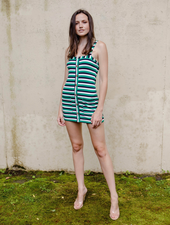 Mini Striped Button Front Dress