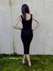 Midi Black Ribbed Midi Dress
