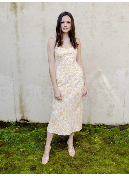 Midi Yellow Floral Midi Dress