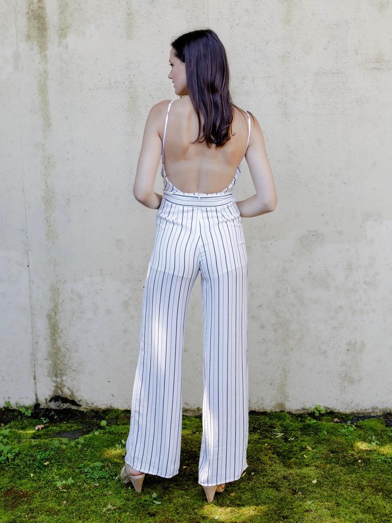 Jumpsuit Striped Open Back Jumpsuit