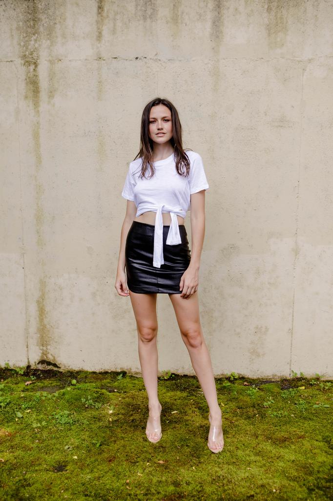 Skirt Black Leather Mini