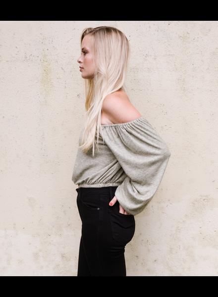 Sweater Sage Cold Shoulder Knit