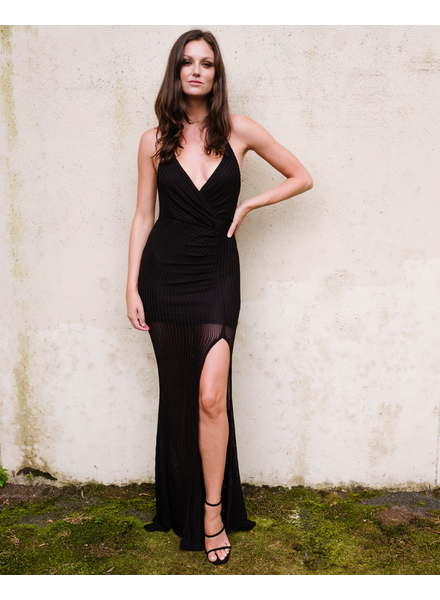 Maxi Black Knit Split Dress