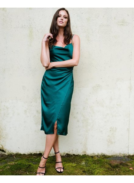 Midi Emerald Wrap Dress