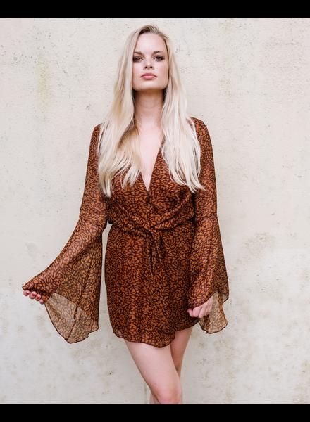 Mini Leopard Deep V Mini Dress