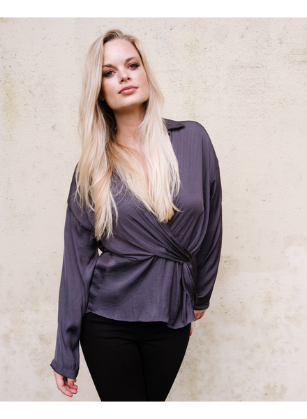 Blouse Charcoal Draped Blouse