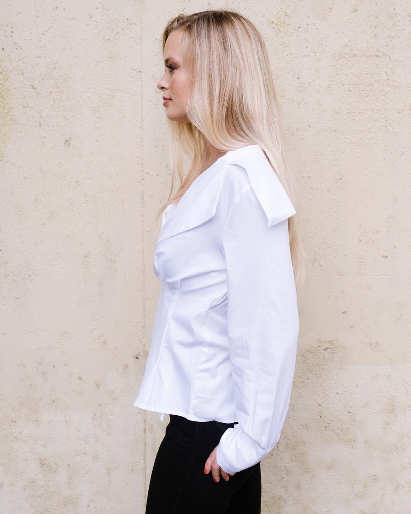 Blouse White Wrap Oxford