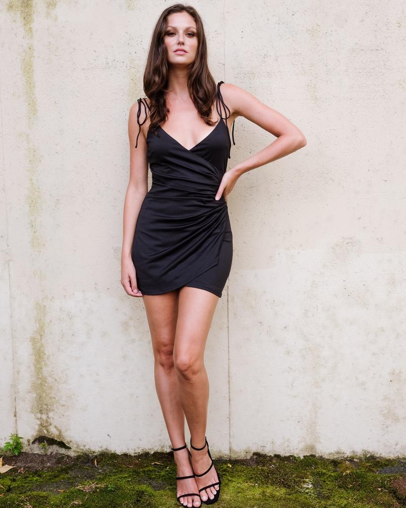 Mini Shoulder Tie Mini Dress