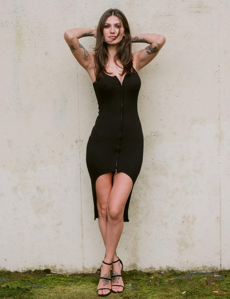 Midi Zip Front Slit Dress