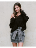 Sweater Frayed Knit Hoodie