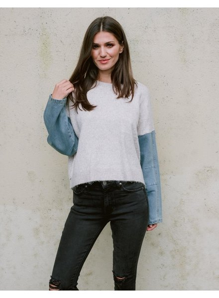 Sweater Denim Sleeves Knit