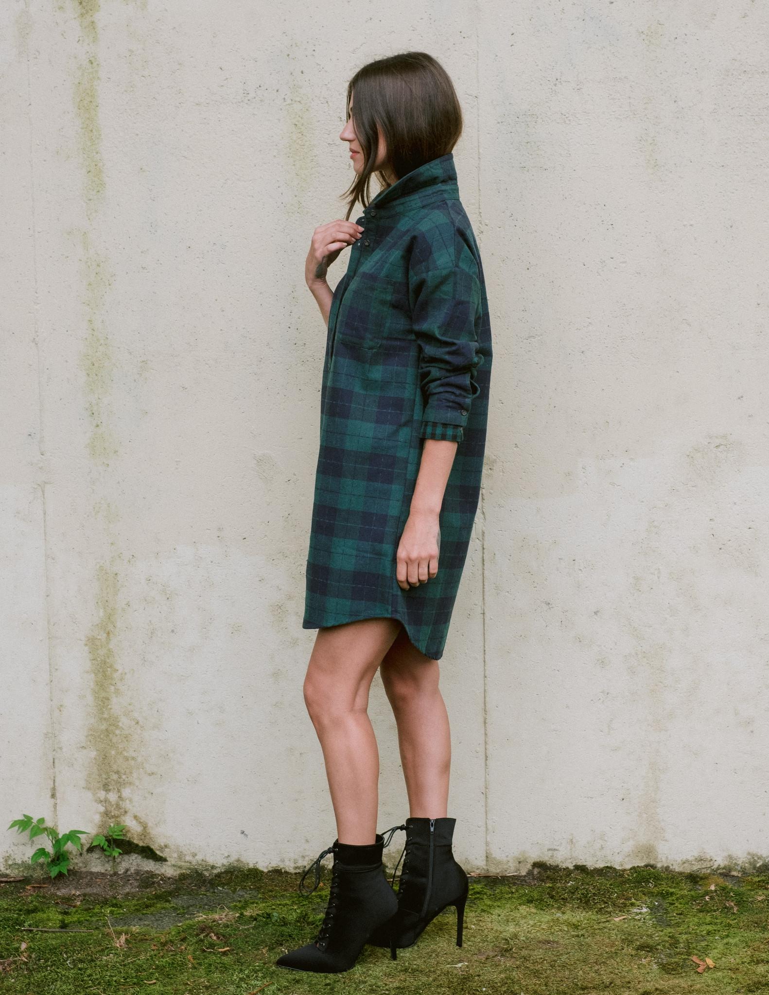 Casual Plaid Shirt Dress