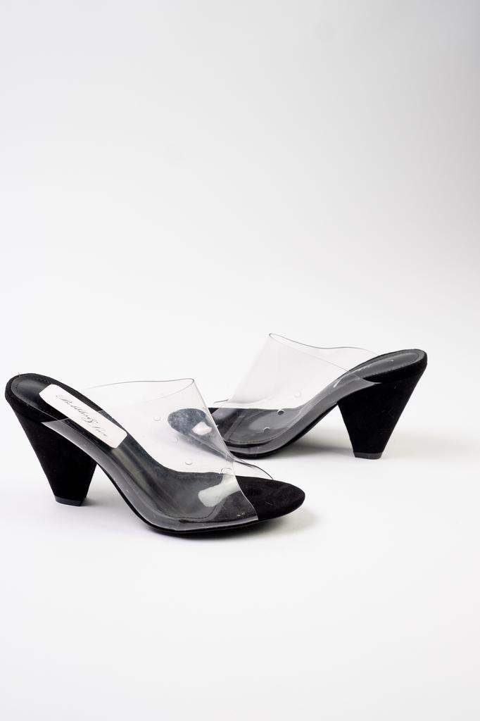 Pump Black Lucite Peep Toe Heel