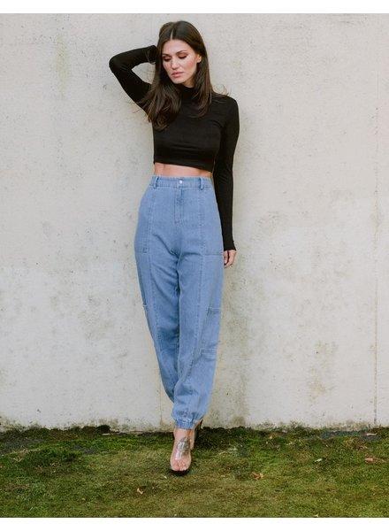 Pants Pocket Detail Denim Pants