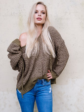 Sweater Olive Hooded Sweater