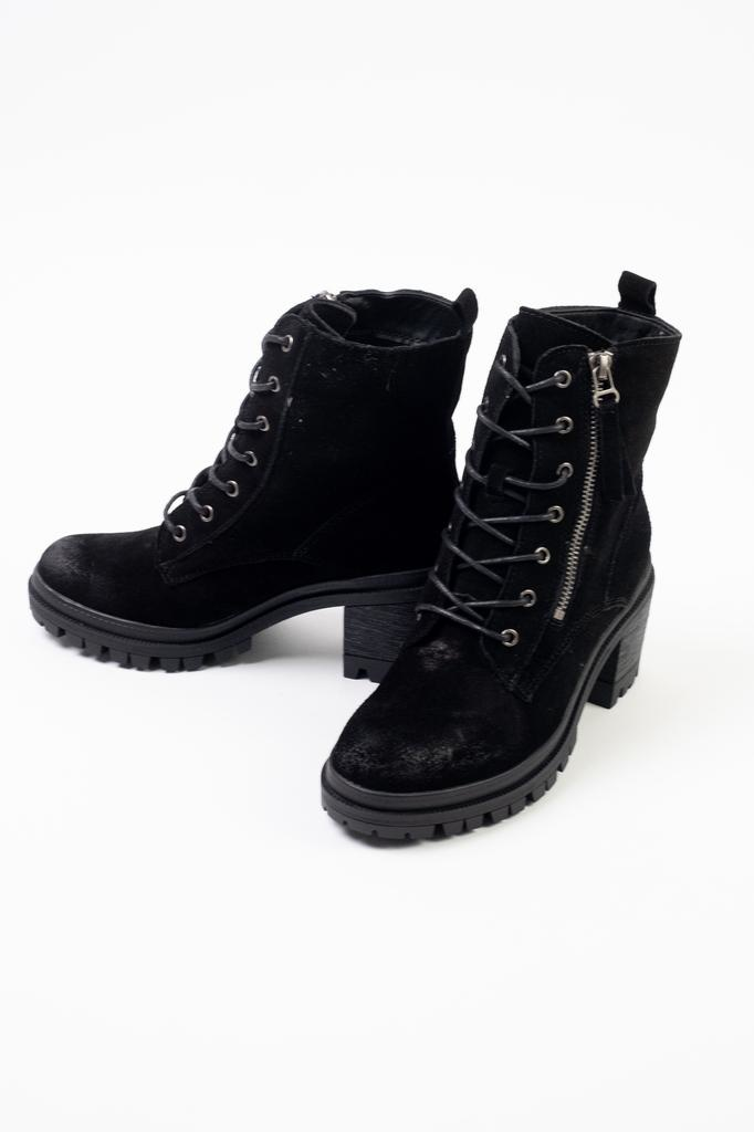 Boot Black Suede Combat Boots