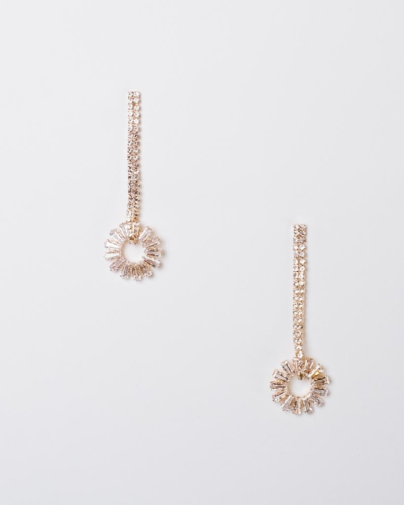 Dressy Rhinestone Circle Drop Earrings