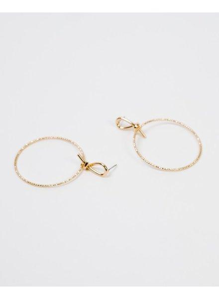 Gold Gold Textured Drop Hoops