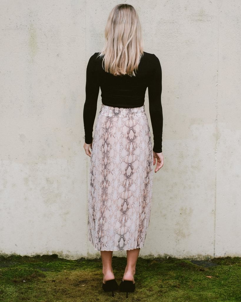 Skirt Pleated Snake Midi Skirt