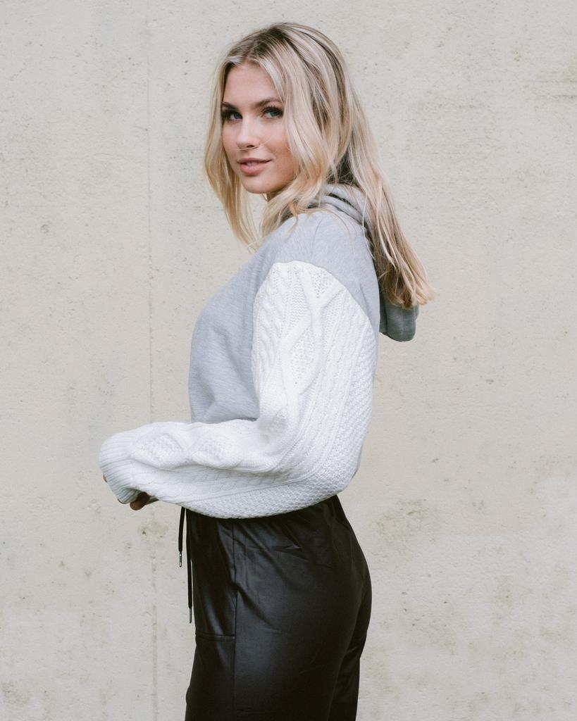 Sweatshirt Knit Detail Hoodie