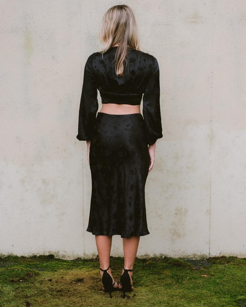Skirt Black Floral Midi Skirt