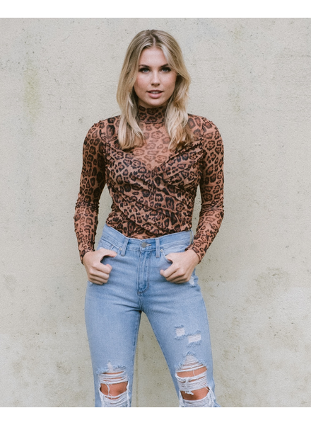 Trend Sheer Leopard Wrap Top