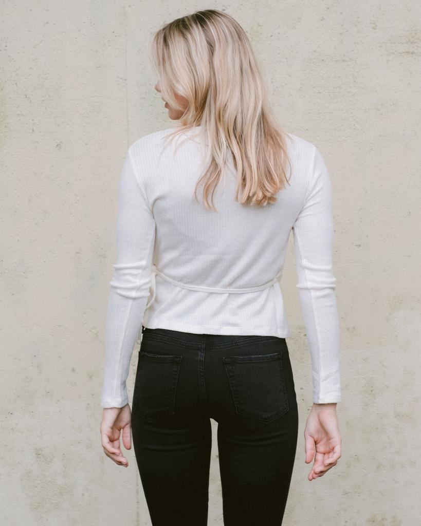 T-shirt Ivory Wrap Knit