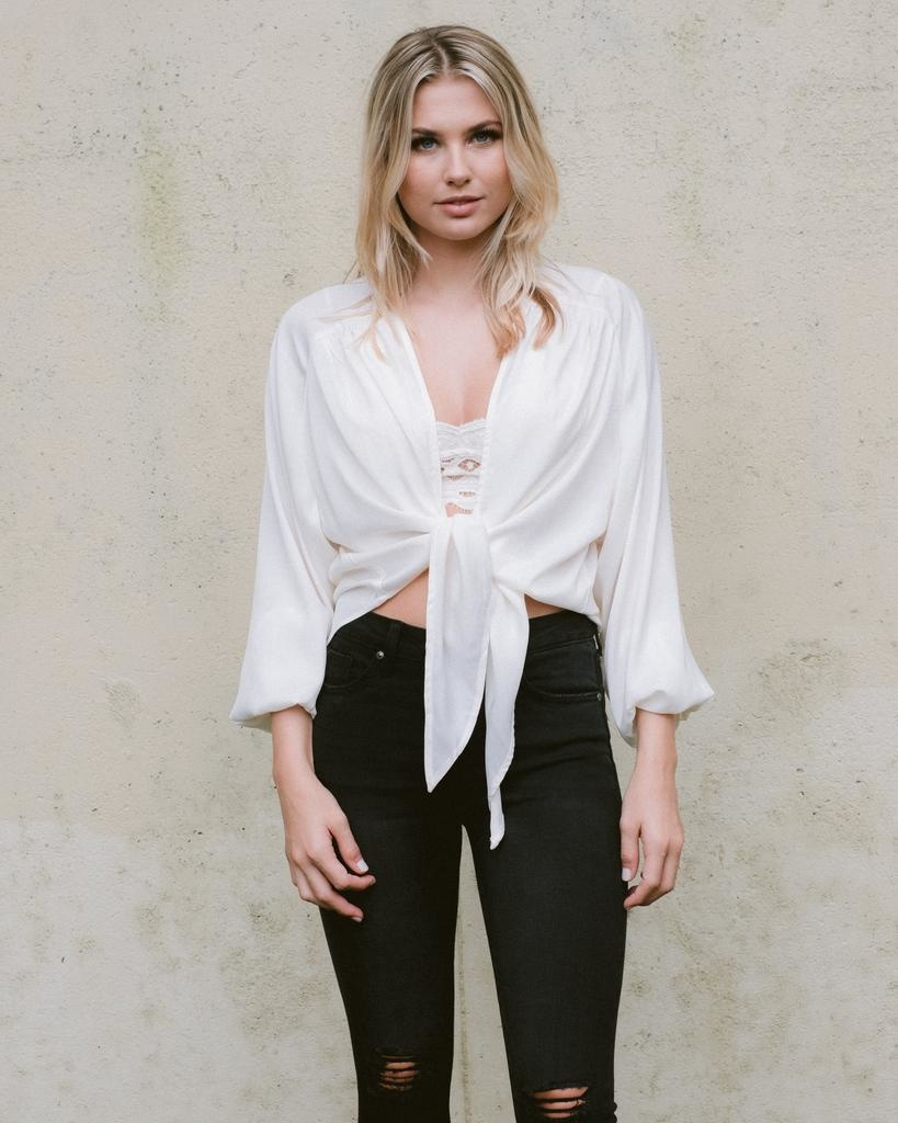 Blouse Ivory Tie Front Top