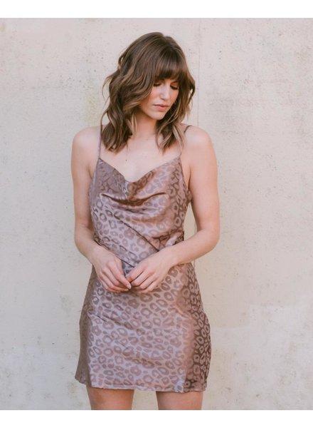 Mini Satin Leopard Dress