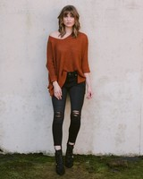 Sweater Rust Cuff Knit