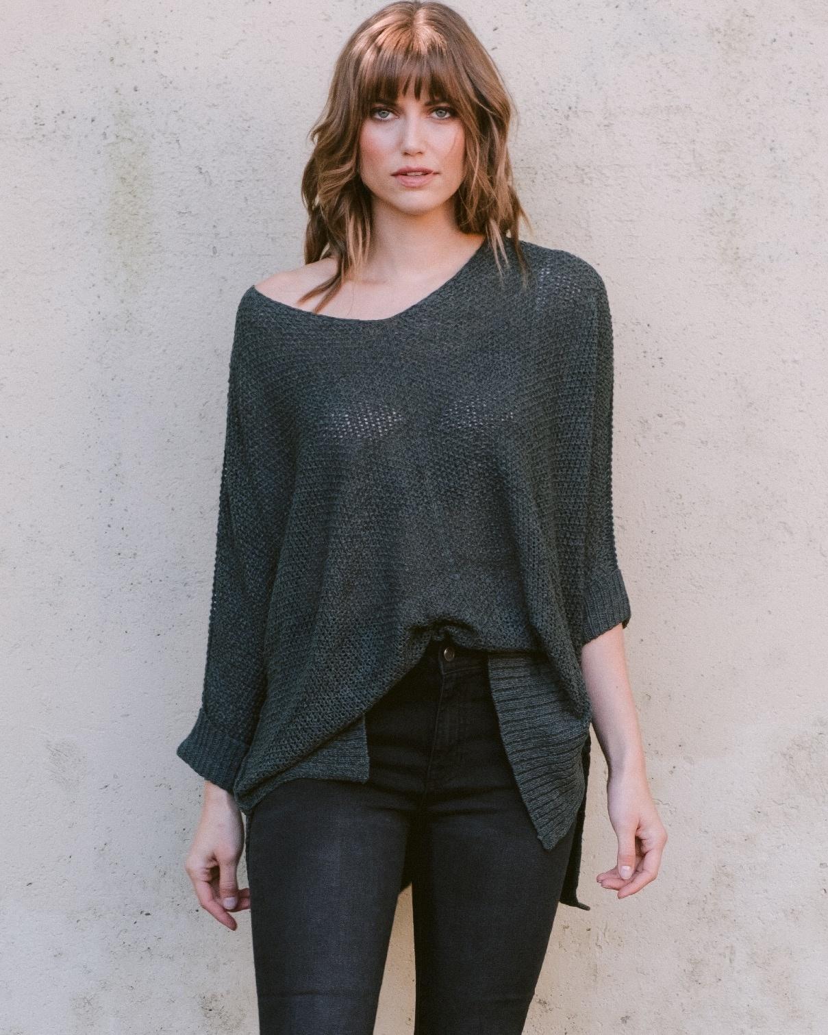 Sweater Sea Green Cuff Knit