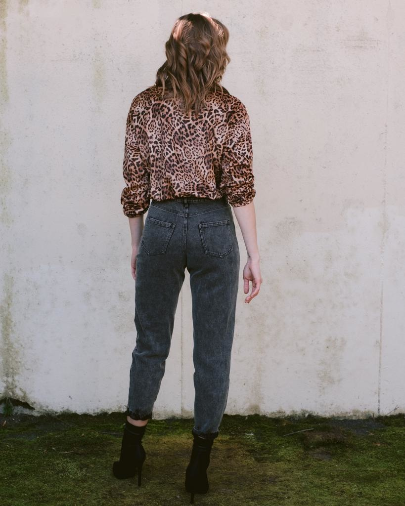 Blouse Leopard Cinch Waist Top