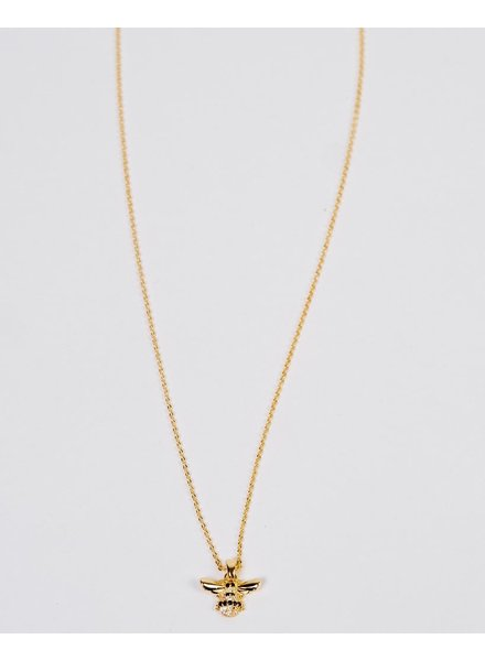 Gold Rhinestone Bee Necklace