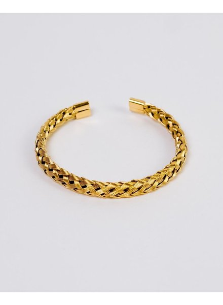 Gold Woven Open Bangle