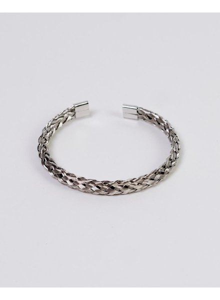 Silver Woven Open Bangle