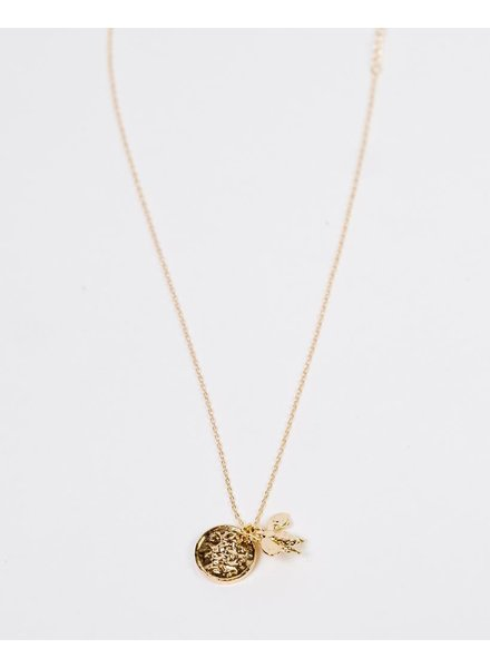 Gold Bee & Medallion Necklace