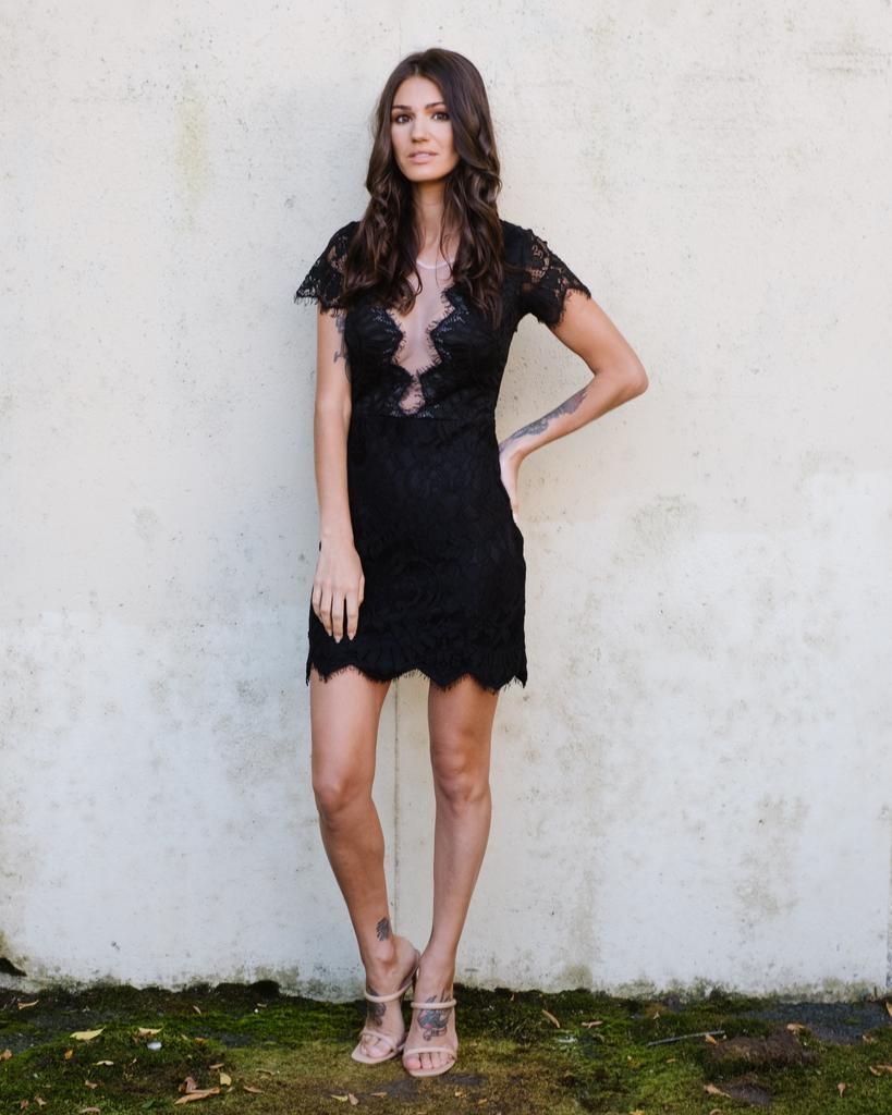 Mini Mesh Front Lace Dress