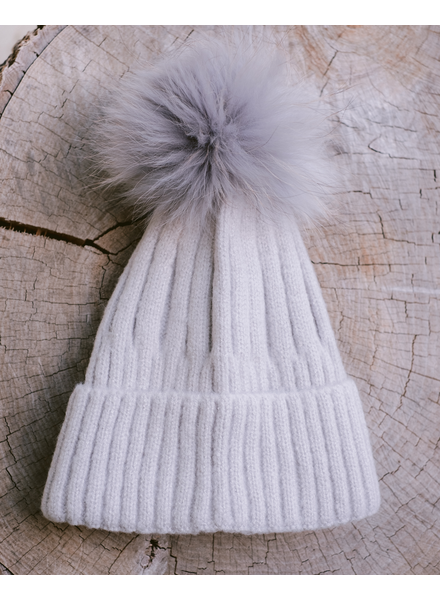 Winter Pale Grey Pom Pom Hat
