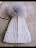 Winter Pale Grey Pom Pom Hat
