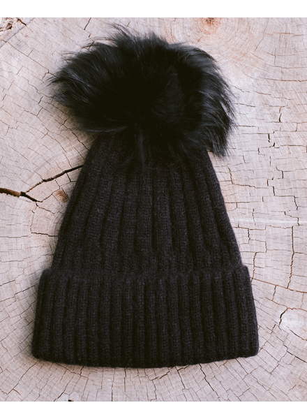 Winter Black on Black Pom Hat