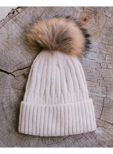 Winter Beige Pom Hat